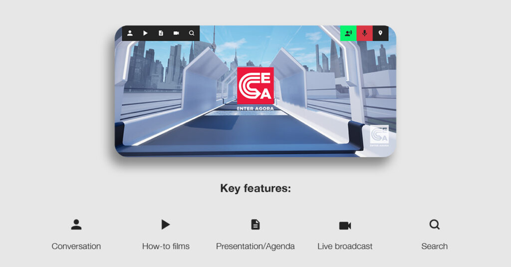 Key features include conversation, how-to films, presentation/agenda, live broadcast and search