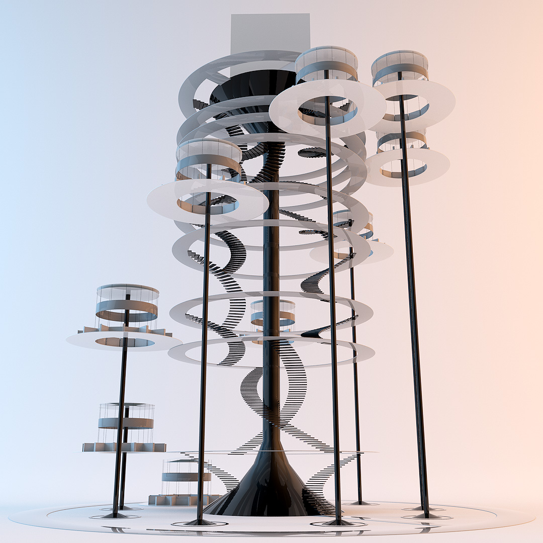 An example of how the Enter Agora environment can be arranged into different configurations. This one shows a tall, treehouse type structure.